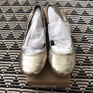 Lucky Brand Ballet Flats Emmie Platinum Gold 10